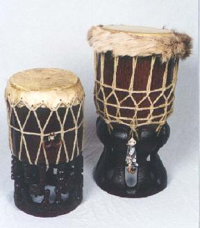 "Hawaiian Pahu Hula and Pahu Temple drums - 9 1/2""x19"", 11""x26"" carved by hand with a mallet and a chisel"