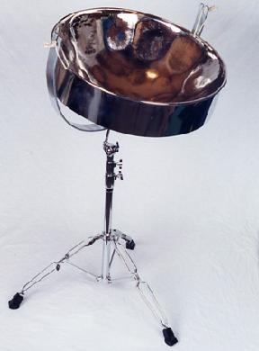 Steel Pan pounded out of the bottom of a 55 gallon steel drum, tempered in a fire, dipped in nickel, and tuned to perfection by expert Pan builder Justin Perkins
