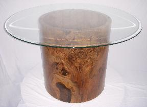 "Solid black walnut burl table 26"" x 30"" with beveled edge glass table."